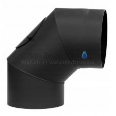 Darco dūmvadu melnā tērauda skursteņa neregulejams līkums 90⁰ DN80 ar tīrīšanas lūku