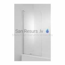 Cubito vannas sieniņa 75x140cm, kreisā puse, sudrabs+caurspīdīgs stikls