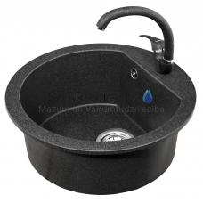 LAVEA akmens masas virtuves izlietne ar jaucējkrānu Lagūna 51x51 (melns)