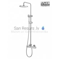 TERM virsapmetuma dušas komplekts ar rokas dušu un lielo dušas galvu, ar termostatu