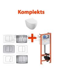 AKCIJA 4 in 1 KKPOL Latona pakabinamas tualetas + WC potinkinis instaliacinis modulis + mygtukas + SC QR dangtis