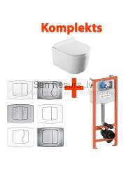 AKCIJA 4 in 1 KKPOL Selene pakabinamas tualetas + WC potinkinis instaliacinis modulis + mygtukas + SC QR dangtis