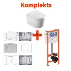 AKCIJA 4 in 1 KKPOL Selene piekaramais tualetes pods + iebūvējamais tualetes poda (WC) rāmis + Skalošanas poga + SC QR vāks